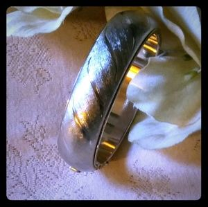 Vintage Brushed & Shiny Metal Hinged Bangle